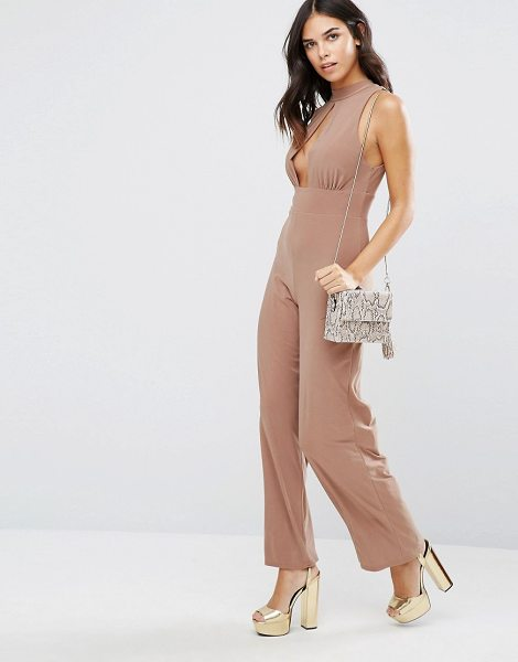 Love High Neck Keyhole Jumpsuit in cream - Jumpsuit by Love, Stretch woven fabric, High neck,...
