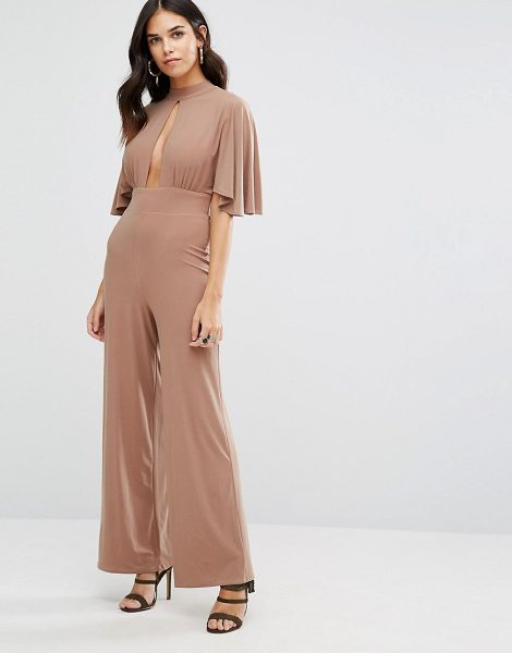 Love Kimono Sleeve Keyhole Jumpsuit in brown - Jumpsuit by Love, Smooth stretch fabric, High neck,...