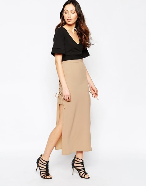 Love Lace Up Maxi Skirt in beige - Maxi skirt by Love, Woven fabric, High waist design,...