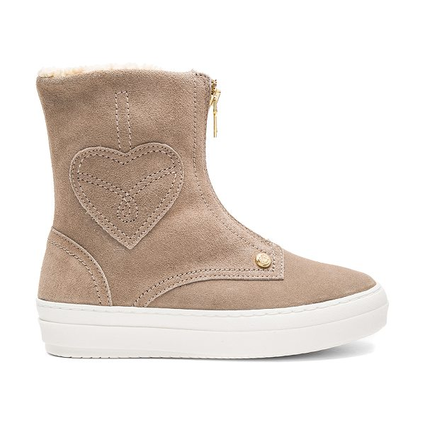 LOVE MOSCHINO Ankle Boot with Sherpa Lining in beige - Suede upper with rubber sole. Front zip closure. Faux...