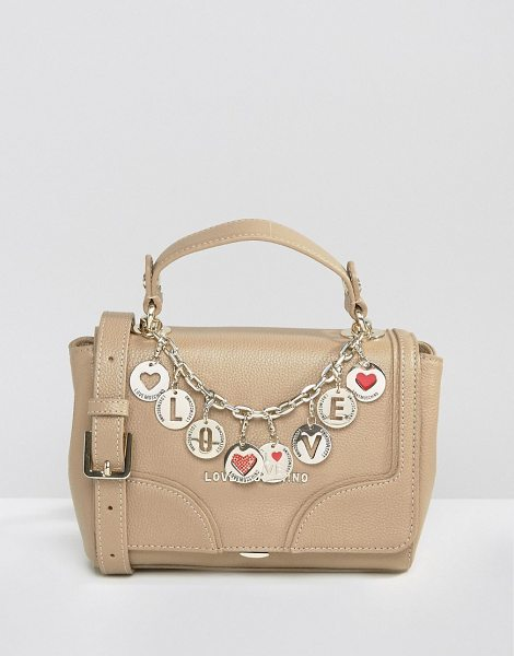 Love Moschino Bowler Tote Bag With Charms in beige - Cart by Love Moschino, Faux-leather outer, Branded...