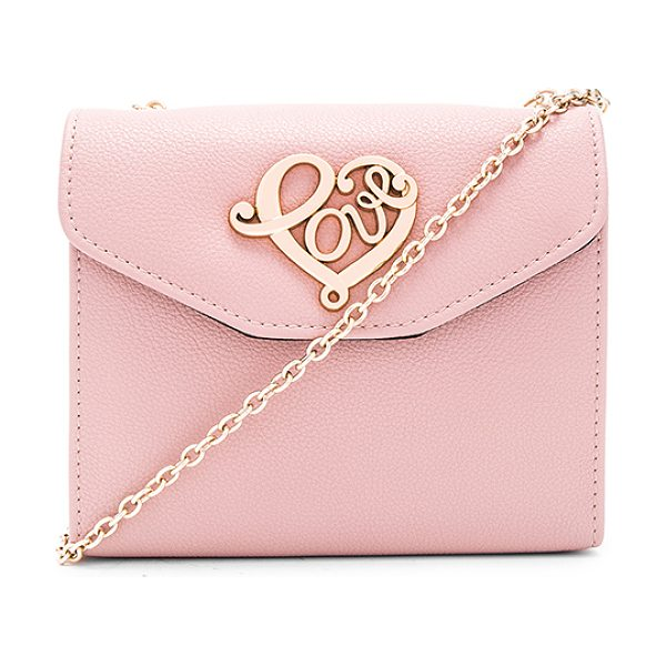 Love Moschino Chain crossbody in pink - Leather exterior with nylon fabric lining. Flap top with...
