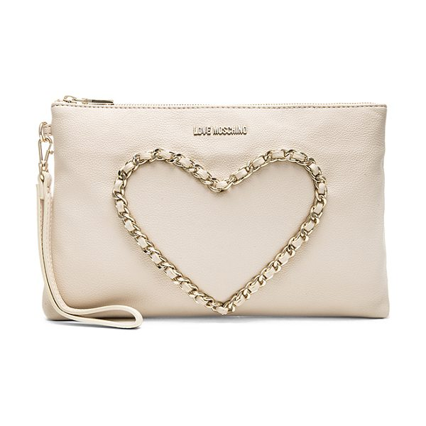 Love Moschino Heart clutch in cream - Faux leather exterior with jacquard fabric lining....