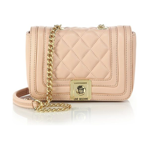 LOVE MOSCHINO Mini quilted faux leather crossbody bag in rose - Quilted faux leather lends elegant texture to this...