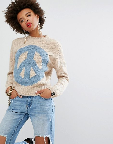 "Love Moschino Peace Cashmere Wool Mix Sweater in beige - """"Sweater by Love Moschino, Soft-touch wool-mix knit,..."
