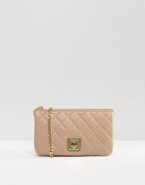 Love Moschino Quilted clutch bag in beige - Cart by Love Moschino, Quilted faux-leather outer,...