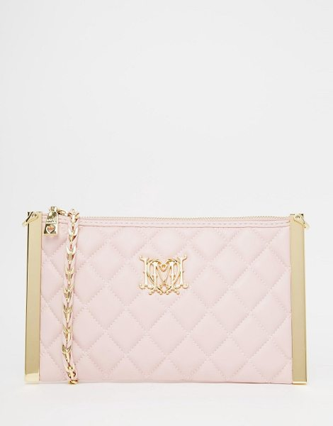LOVE MOSCHINO Quilted cross body bag in pink - Cart by Love Moschino, Quilted faux leather, Zip top...