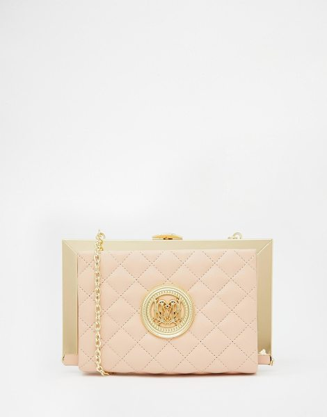 LOVE MOSCHINO Quilted frame clutch in pastel pink - Clutch bag by Love Moschino Faux leather outer Quilted...