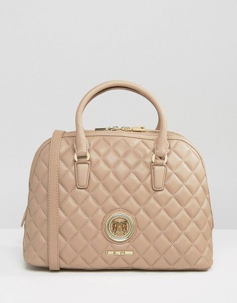 Love Moschino Quilted Handheld Bag in beige - Cart by Love Moschino, Quilted faux-leather outer,...