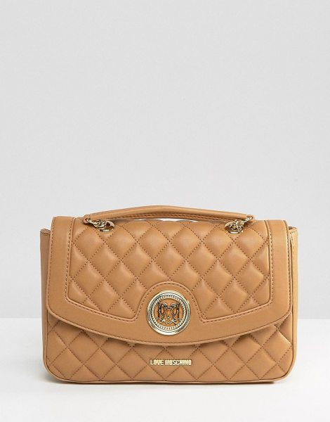 LOVE MOSCHINO Quilted Shoulder Bag in beige - Cart by Love Moschino, Faux-leather outer, Branded...