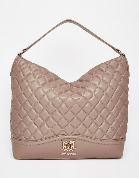 Love Moschino Quilted shoulder bag in beige - Cart by Love Moschino Quilted leather-look outer Single...