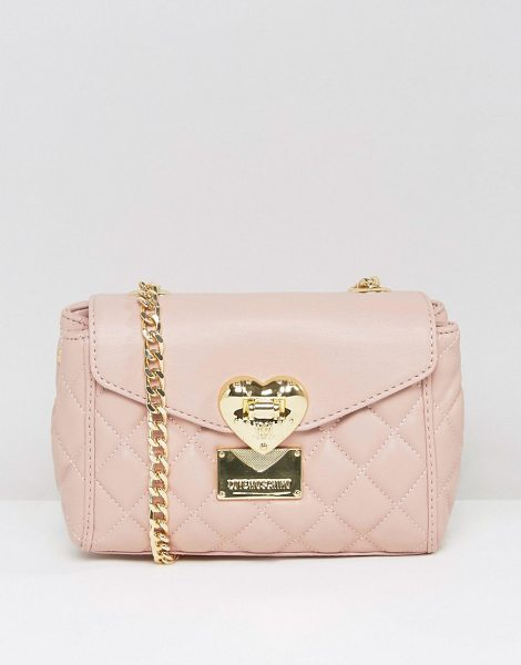 Love Moschino Quilted small shoulder bag in pink - Cart by Love Moschino, Quilted faux-leather outer,...