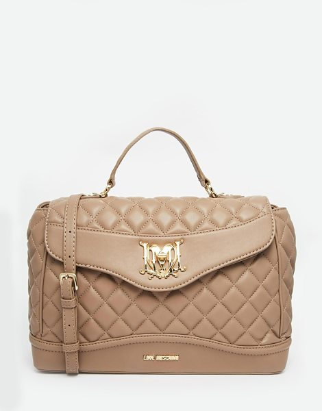 Love Moschino Quilted tote bag in mink - Cart by Love Moschino Quilted faux leather Top handle...