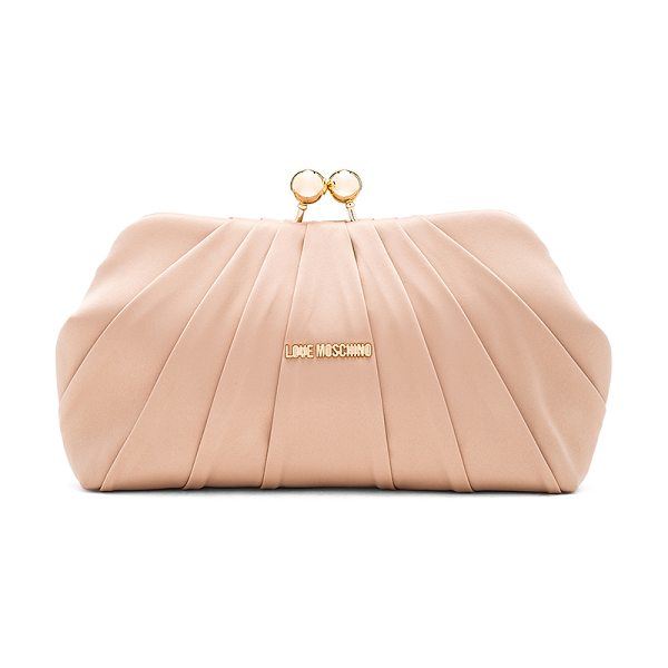 Love Moschino Satin clutch in beige - Satin textile exterior with nylon fabric lining. Top...