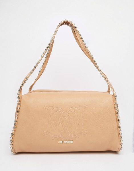 LOVE MOSCHINO Shoulder bag with chain handles in beige - Cart by Love Moschino Faux leather Branded lining Twin...