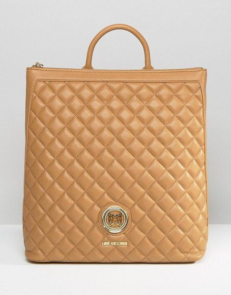 Love Moschino Structured Quilted Backpack in beige - Cart by Love Moschino, Quilted faux leather outer,...