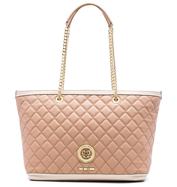 LOVE MOSCHINO Superquilted tote - Quilted leather exterior with metallic jacquard fabric...