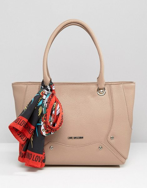 Love Moschino Tote bag with scarf in beige - Cart by Love Moschino, Faux-leather outer, Matte finish,...