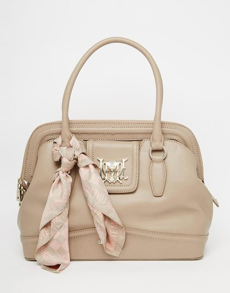 Love Moschino Tote bag with scarf in beige - Cart by Love Moschino, Smooth faux leather, Twin...
