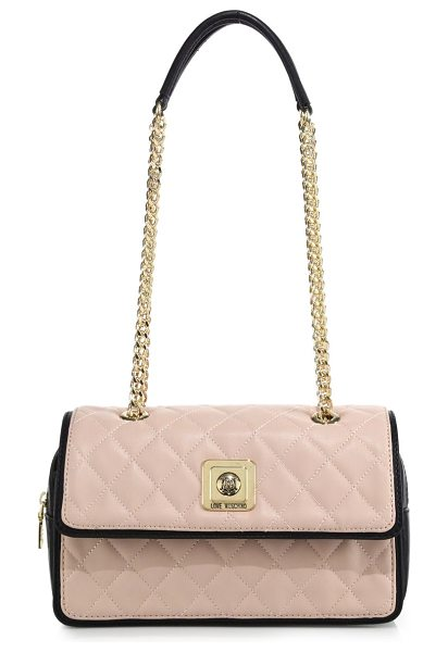 Love Moschino Two-tone quilted faux leather shoulder bag in nude-black - Crafted of quilted faux leather with smooth, contrasting...