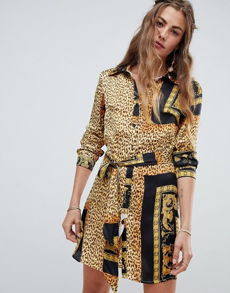 Love & Other Things animal print shirt dress in blackgold - Dress by Love Other Things, Mixed animal print, Go wild,...