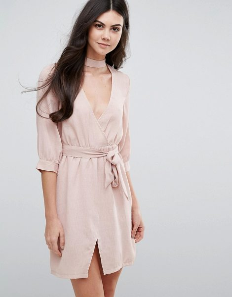"Love & Other Things Belted Wrap Dress in pink - """"Evening dress by Love Other Things, Woven fabric,..."