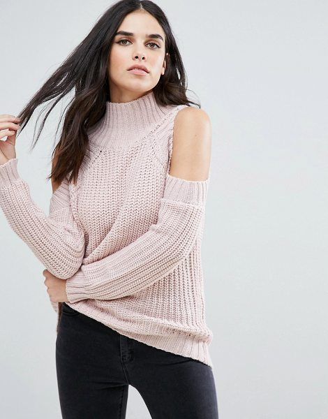 Love & Other Things Cold Shoulder Sweater in pink - Sweater by Love Other Things, Soft-touch knit, High...