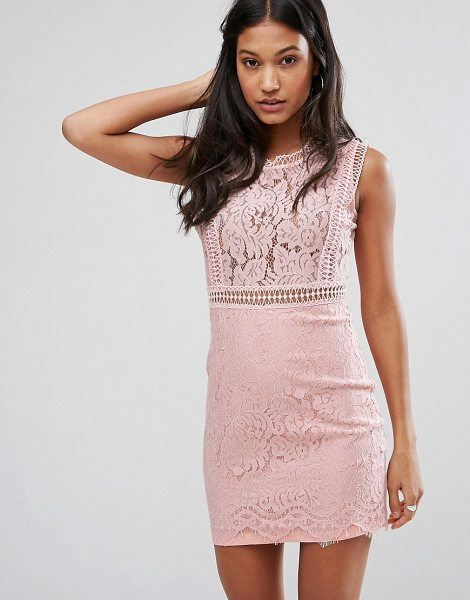 "Love & Other Things Lace Pencil Dress in pink - """"Dress by Love Other Things, Sheer lace, Partially..."