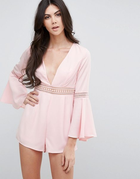 LOVE & OTHER THINGS V Neck Bell Sleeve Shift Romper - Romper by Love & Other Things, Lightweight fabric,...