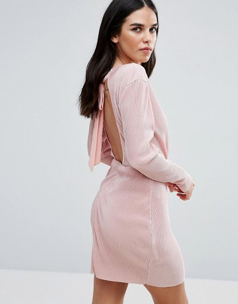 """Love & Other Things Wrap Front Long Sleeve Plisse Dress in pink - """"""""Dress by Love Other Things, Plisse fabric, Plunge..."""