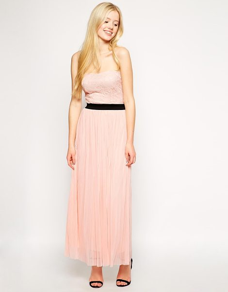 LOVE Pleated bandeau maxi dress - Maxi dress by Love Made in Britain Lace overlay bodice...