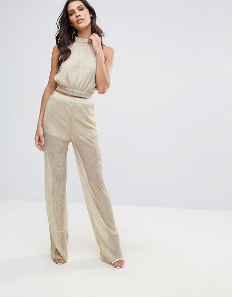 "Love Pleated Wide Leg Pant in gold - """"Pants by Love, Lightweight fabric, Metallic thread..."