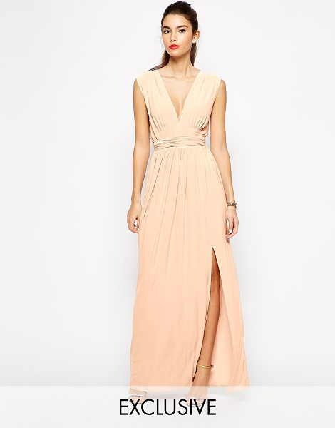Love Plunge neck maxi dress with wrap belt in pink - Maxi dress by Love Soft-touch, stretch fabric Plunge...