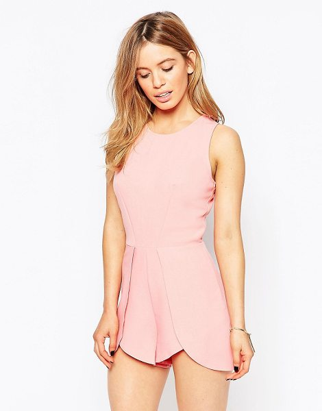 Love Romper with overlay shorts in pink - Play suit by Love, Smooth unlined crepe, Crew neckline,...