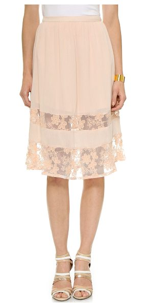 LOVE SADIE Lace skirt - Sheer lace insets show peeks of skin on this crinkled...