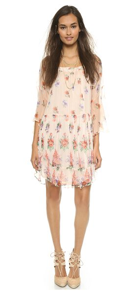 Love Sam Aria boho shift dress in peach combo - This Love Sam shift dress gains a romantic look from a...