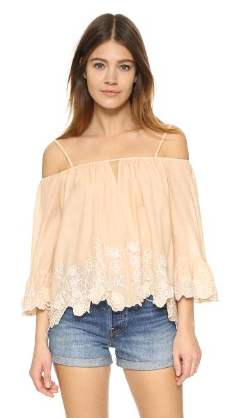 Love Sam Camille top in blush - Floral embroidery trims the scalloped hem of this...
