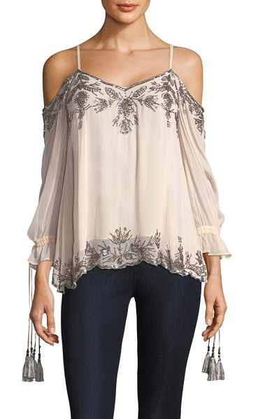 LOVE SAM embellished cold-shoulder blouse - Beaded cold-shoulder blouse. Roundneck. Shoulder...
