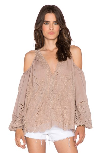 Love Sam Eyelet cut out embroidered top in tan - Cotton blend. Shoulder cut-outs. Elasticized cuffs....
