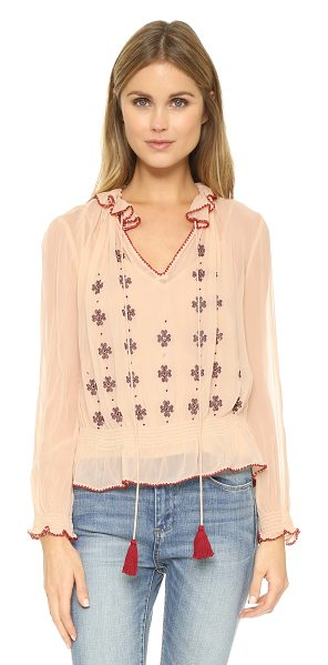 Love Sam Lena crinkle blouse in blush - A bohemian Love Sam blouse, detailed with embroidery and...