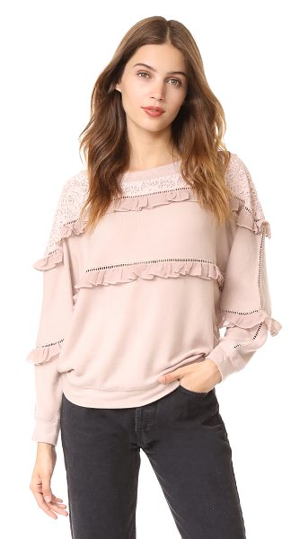 Love Sam off shoulder ruffled pullover in rosewater - This slouchy Love Sam pullover sweater is trimmed with...