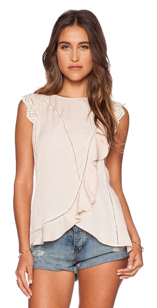 Love Sam Thalia seamed ruffle top in blush - 100% poly. Dry clean only. Back button closure with...