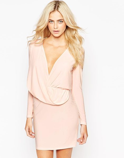 Love Slinky wrap front mini dress in nude - Dress by Love Made in Britain Slinky stretch fabric...