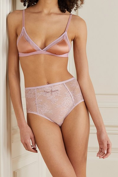Love Stories moonflower embroidered stretch-lace briefs in pink