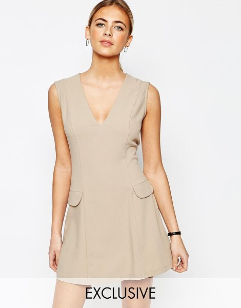 Love Tailored A Line Mini Dress with Pockets in tan - Party dress by Love, Lightweight woven fabric, V-neck,...