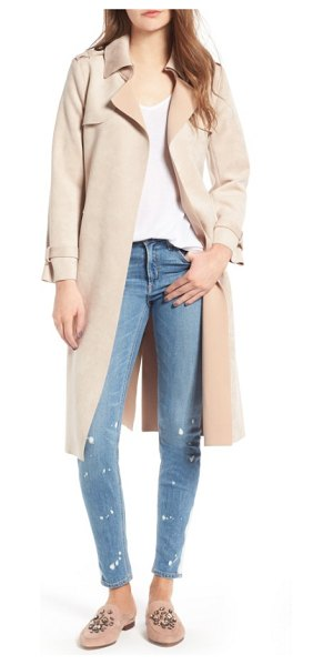 Love Token faux suede long trench coat in blush