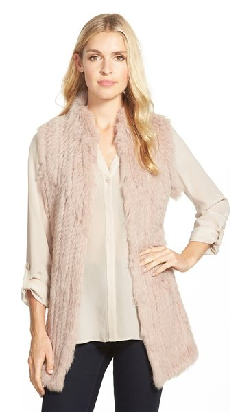 Love Token genuine rabbit fur & knit vest in blush - A long vest is crafted from sumptuously soft rabbit fur...