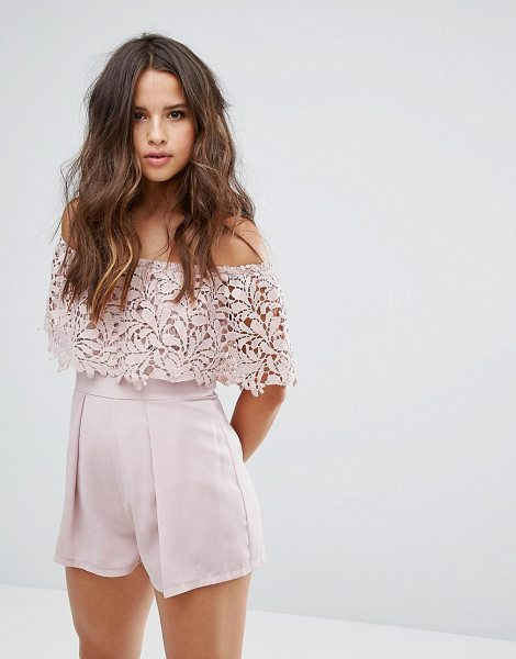"Love Triangle Bardot Lace Romper in pink - """"Romper by Love Triangle, Woven fabric, Lace top,..."