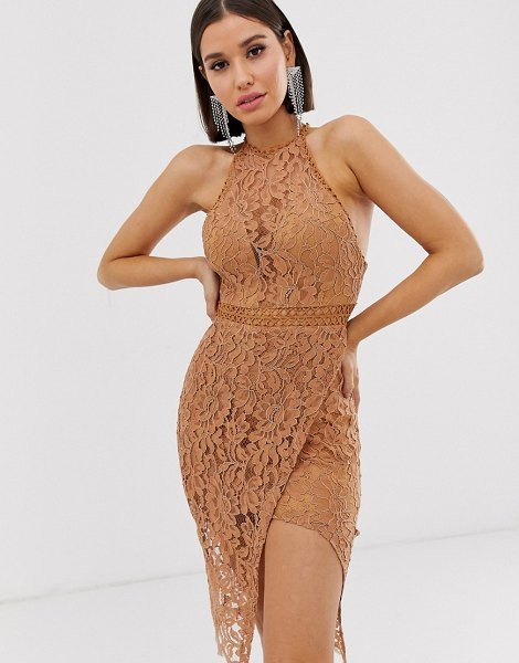 Love Triangle high neck lace dress with wrap skirt in caramel in caramel