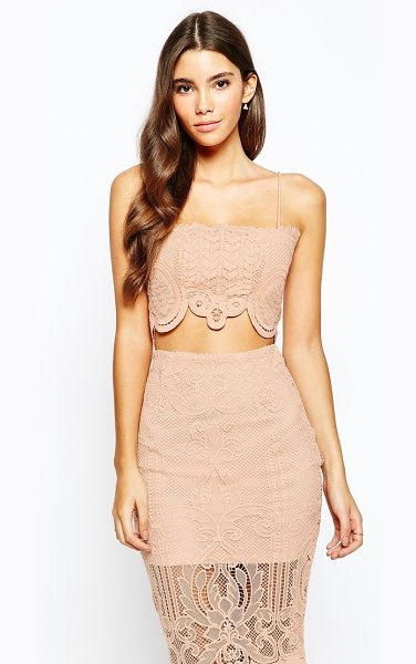 Love Triangle Lace bralet in nude - Top by Love Triangle Textured lace Square neckline...